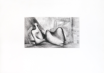 Grabado original de  : Reclining figure : Piranesi background I