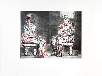Grabado original de  : Two seated figures