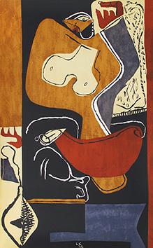 Lithographie originale de  : Femme à la main levée II