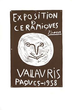 Original linocut de  : Ceramics exhibition, Vallauris