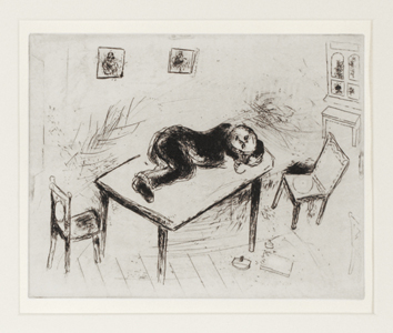 Original etching de  : Tchitchikov slept at the office