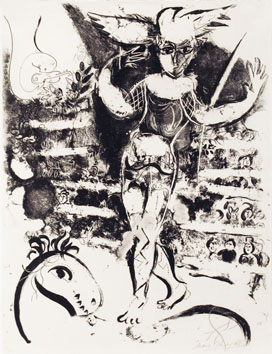 Original signed lithograph de  : The Rider with bird