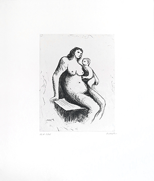 Gravure originale signée de  : Mother and Child V