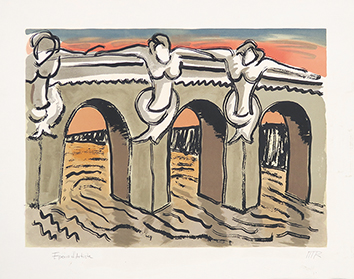 Original signed lithograph de Man Ray : Le Pont Neuf