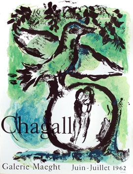 Original lithograph poster de  : The green bird