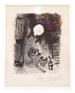 Original signed lithograph de  : Brown still life
