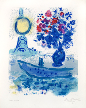 Original signed lithograph de  : Bateau-Mouche with bouquet