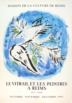 Lithograph poster de  : The angel on blue bottom