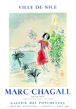 Chagall Marc : Affiche lithographie : Baie de Nice