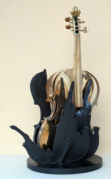 Signed bronze multiple de  : Violin Fenice I
