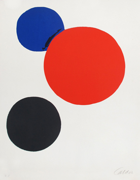 Original signed lithograph de  : Black, red, blue circle