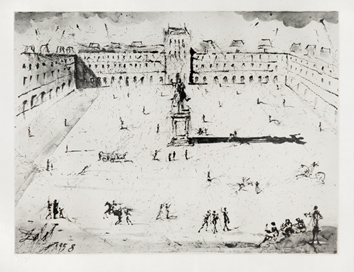 Signed print de  : The great Place des Vosges, at the time of Louis XI