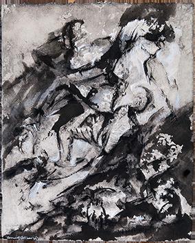 Signierte Tinte-Zeichnung de  : Composition sans titre V
