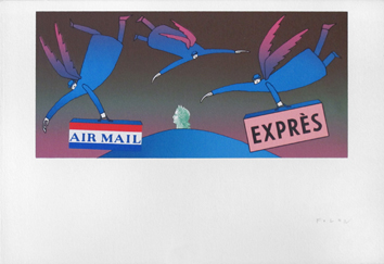Original signed screenprint de  : Air Mail Exprès