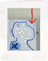 Signed etching carborundum de Coignard James : Profile and red arrow