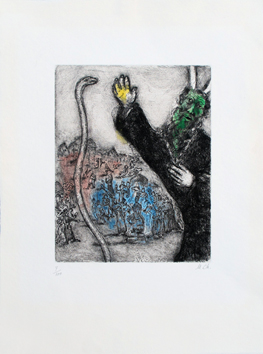 Original signed etching de  : Moses and the snake