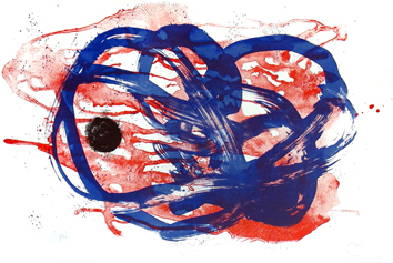 Original signed lithograph de  : Series I, blue on red lavis