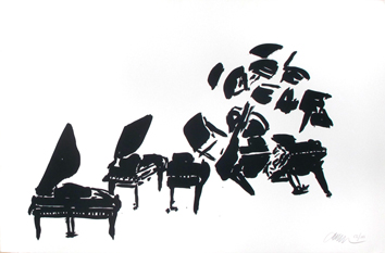 Original signed screenprint de Arman : Pianos