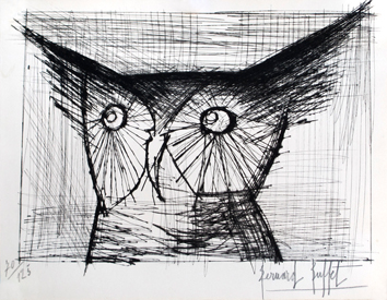 Original signed etching de  : Head of owl