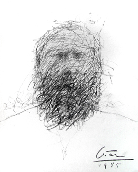 César Baldaccini : Original signed drawing : Self-portrait 85 bis
