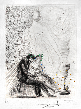 Signed etching de  : Couple with candle