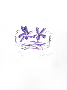 Original signed lithograph de  : Two purple flowers