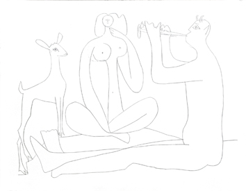 Jacomet process print de Picasso Pablo : My drawings of Antibes IV