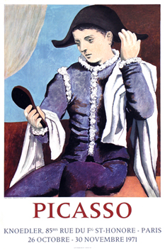 Poster de Picasso Pablo : Harlequin with mirror