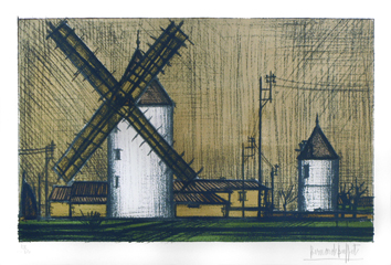 Original signed lithograph de  : The windmills