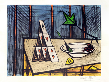 Original signed lithograph de Buffet Bernard : Still life with card games