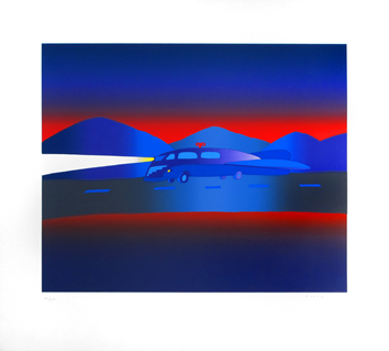 Original signed screenprint de Folon Jean Michel : Night road
