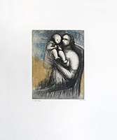 Gravure originale signée de Moore Henry : Mother and Child, Planche XXV