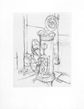 Gravure originale de  : Le Poêle dans l'atelier  II