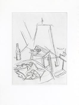 Gravure originale de  : Lunettes sur la table de l'atelier