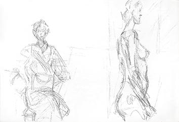 Lithographie originale de  : Femme assise et femme nue de profil II