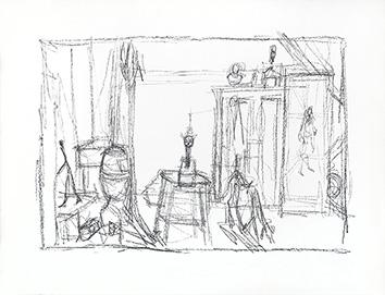 Lithographie originale de  : Chien, chat et tableau