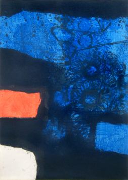 Signed etching carborundum de  : Without title with blue bottom