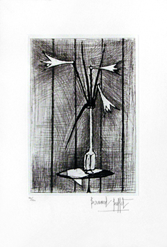 Original signed etching de Buffet Bernard : Bouquet of Lily
