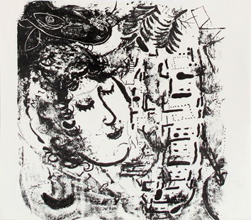 Original lithograph de Chagall Marc : The village