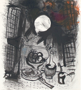 Original lithograph de Chagall Marc : Brown still life