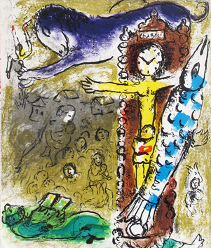 Original lithograph de  : The Christ with the clock
