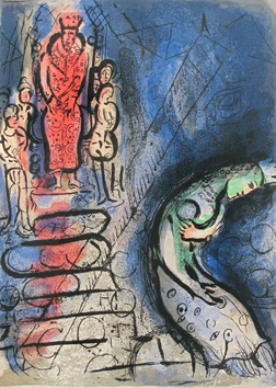Chagall Marc : Lithographie originale : Assuérus chasse Vasthi