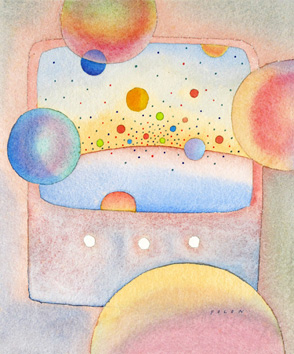 Original signed watercolour de  : Planets