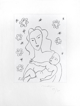 Original signed lithograph de  : Virgin and child