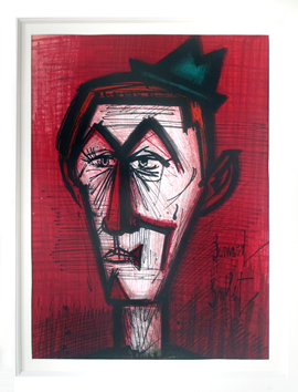 Original lithograph de  : Le clown au fond rouge