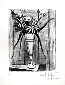 Original signed etching de  : Flowers and mazagran