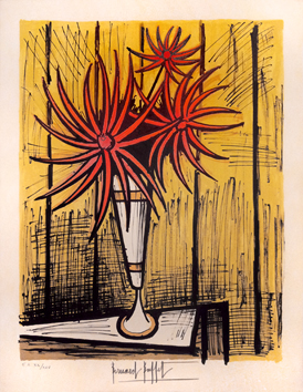 Original signed lithograph de  : Three dahlias