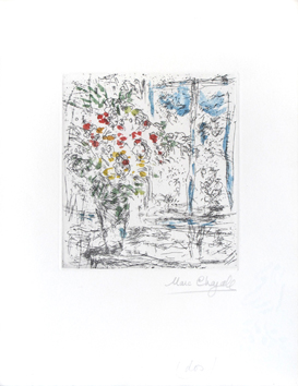 Original signed etching de  : The window of the studio in Saint-Paul