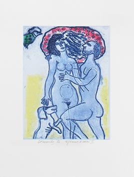 Original signed etching de  : Couple of the summer II