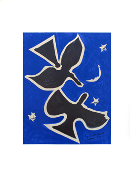 Lithograph poster de  : Two birds on blue bottom I